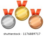 blank medals set. gold  silver...   Shutterstock .eps vector #1176889717