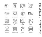 set of 16 simple line icons... | Shutterstock .eps vector #1176899584