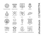 set of 16 simple line icons... | Shutterstock .eps vector #1176899794