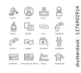 set of 16 simple line icons... | Shutterstock .eps vector #1176902914