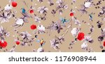 wide seamless background floral ...   Shutterstock .eps vector #1176908944