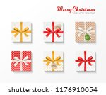 square gift box set. gold  red  ... | Shutterstock .eps vector #1176910054