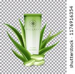 aloe vera body cream  with... | Shutterstock .eps vector #1176916354