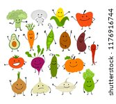 funny smiling vegetables ... | Shutterstock .eps vector #1176916744
