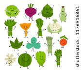 funny smiling vegetables and... | Shutterstock .eps vector #1176916861