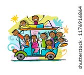 tuk tuk with company of friends ... | Shutterstock .eps vector #1176916864