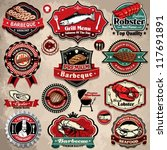 vintage bbq seafood steak... | Shutterstock .eps vector #117691891