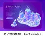 smart isometric city vector... | Shutterstock .eps vector #1176921337