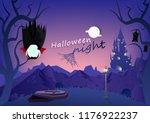 halloween night  vampire and... | Shutterstock .eps vector #1176922237