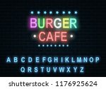 burger cafe in neon color....   Shutterstock .eps vector #1176925624
