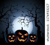 halloween night background with ... | Shutterstock .eps vector #1176933217