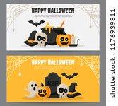 set of happy halloween banner...   Shutterstock .eps vector #1176939811
