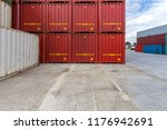 container stacked at the... | Shutterstock . vector #1176942691