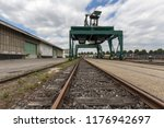 giant  green cargo crane on... | Shutterstock . vector #1176942697