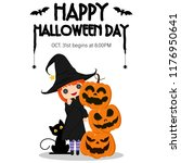 illustration happy halloween... | Shutterstock .eps vector #1176950641