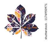 vector color blue chestnut leaf ... | Shutterstock .eps vector #1176950971