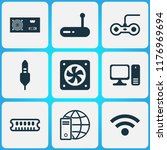 hardware icons set with audio... | Shutterstock .eps vector #1176969694