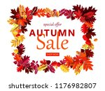 autumn sale leaves cut paper... | Shutterstock .eps vector #1176982807