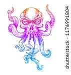 evil skull octopus mascot in... | Shutterstock .eps vector #1176991804