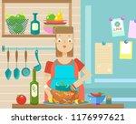 mistress in the kitchen ... | Shutterstock .eps vector #1176997621