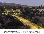 dusk view of hillside homes... | Shutterstock . vector #1177008961