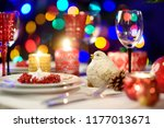 beautiful table setting for... | Shutterstock . vector #1177013671