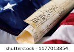 roll of vintage us constitution ... | Shutterstock . vector #1177013854