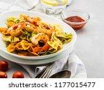 farfalle pasta with shrimps on... | Shutterstock . vector #1177015477