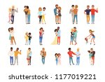 set with hugging people.... | Shutterstock .eps vector #1177019221