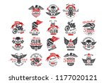set of vintage motorcycle club...   Shutterstock .eps vector #1177020121