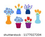 spring flowers. cute spring... | Shutterstock . vector #1177027204