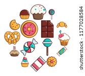 sweets candy cakes icons set.... | Shutterstock . vector #1177028584