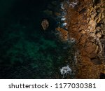 aerial view of waves  rocks and ... | Shutterstock . vector #1177030381