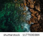 aerial view of waves  rocks and ... | Shutterstock . vector #1177030384