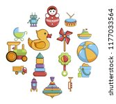kids toys icons set. cartoon... | Shutterstock . vector #1177033564