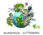 ecology concept with green city ... | Shutterstock .eps vector #1177036441