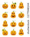 vector set of halloween... | Shutterstock .eps vector #1177048144