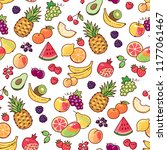 cartoon fruits and berries on... | Shutterstock .eps vector #1177061467