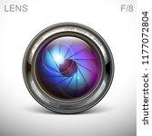 set camera lens object glass... | Shutterstock .eps vector #1177072804