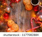 cozy warm holiday decor on... | Shutterstock . vector #1177082884