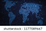 world map of glowing blue... | Shutterstock . vector #1177089667
