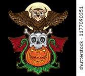 halloween totem pumpkin  skull  ... | Shutterstock .eps vector #1177090351