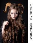 portrait of an attractive demon ... | Shutterstock . vector #1177094074