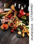 italian antipasti wine snacks... | Shutterstock . vector #1177099987