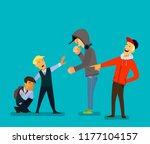 bigger boy bullying a smaller... | Shutterstock .eps vector #1177104157