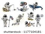 set of astronauts in space.... | Shutterstock .eps vector #1177104181