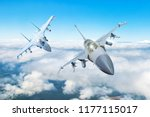 Pair of combat fighter jet on a ...