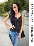 portrait of brunette fashion... | Shutterstock . vector #1177117891
