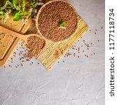 groats of buckwheat with... | Shutterstock . vector #1177118734