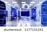 digital lock icon and city... | Shutterstock . vector #1177131241